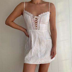 Reformation white lace up mini dress